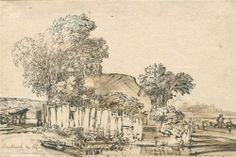 Cottage with wooden fence amid trees - Rembrandt