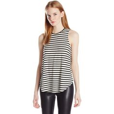Townsen Women's Jenny Striped Sleeveless Tee Shirt ($31) ❤ liked on Polyvore featuring tops, t-shirts, sleeveless tee, white stripes shirt, sleeveless tee shirts, striped shirt and striped top