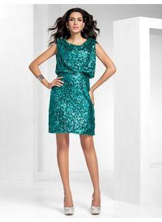 Sheath/Column Scoop Short/Mini Sequined Cocktail Dress