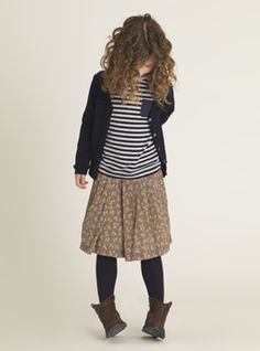 navy cardy stripy tee full skirt navy tights brown boots