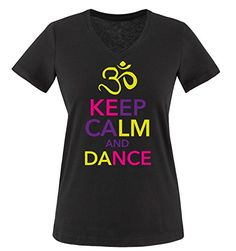Comedy Shirts - KEEP CALM and DANCE - mujer V-Neck T-Shirt camiseta - negro / amarillo-pink-morado tamaño S #camiseta #friki #moda #regalo