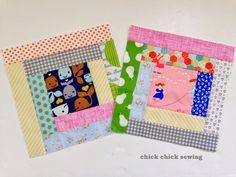 chick chick sewing: More Scrappy Log Cabin Blocks ♪ はぎれでログキャビン♪