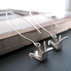 Silver Bird Earrings, Japanese Origami Crane Earrings, Modern Bird Dangle Earrings Silver - ORIGAMI on Etsy, $15.00