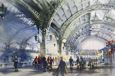 Olga-Litvinenko-watercolor-railway-station