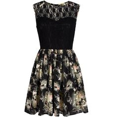 Mela Loves London Floral Print Lace Skater Dress ($39) ❤ liked on Polyvore featuring dresses, black, women, sweetheart dress, black floral dress, floral print dress, black lace dress and sleeveless lace dress