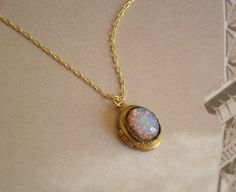 Vintage Oval Locket Personalized Necklace Tiny Brass Locket Fire Opal with Gold Chain Personalized Jewelry on Etsy, $23.00