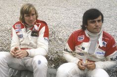 Third placed James Hunt (GBR) talks with his McLaren team mate Patrick Tambay (FRA), who finished ninth. Alain Prost, James Hunt, Auto Motor Sport, Car And Driver, Road Racing, Formula One, Grand Prix, Race Cars, Third