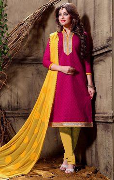 USD 21.68 Magenta Cotton Jacquard Churidar Suit 55949
