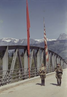 Russian & American occupied bridge during World War 2.