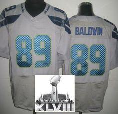 Nike Seattle Seahawks 89 Doug Baldwin Grey Elite 2014 Super Bowl XLVIII NFL Jerseys