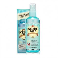 Etude House Wonder Pore Freshner Mist is a product that is total solution for pore care, preventing enlarged pores, less firmer skin, and skin troubles by eliminating what hurts skin health from within. It is a 7 in 1 total pore solution, which can maintain pH 4.5, refine the skin tone, keep the elasticity of pores, cleanse pores, minimize appearance of pores, control a large amount of sebum, and moisturize inside and outside of the skin. Shop now at www.koreanlolyshop.com.