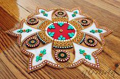 White Green Red Kundan rangoli - Bollywood inspired, Acrylic floor art, Indian Wedding decor, Rangoli