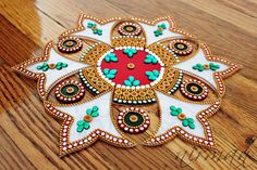White Green Red Kundan rangoli Bollywood inspired by Nirman