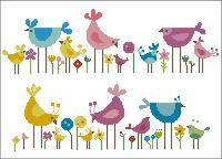 free+minature+cross-stich+patterns   Mini Cross Stitch Pattern: Birds and Wildflowers Design Source ...
