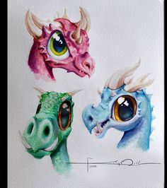 Watercolor Dragons by *Imaginesto on deviantART