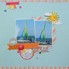 Lawn Fawn - Hello Sunshine Collection Kit, Spring Showers Lawn Cuts dies _ Beautiful and sunny layout by Kathy via Flickr - Photo Sharing!