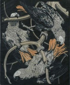 """Three Cockatoos - NORBERTINE BRESSLERN-ROTH Austrian, (1891-1978)Woodcut printed in colors, circa 1925, edition unknown. 9 1/4 x 7 5/8 in. Signed in pencil and also inscribed """"handdruck."""" An exemplary work by the artist. . Many images were based on her travels in North Africa."""