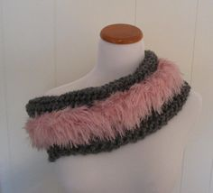 Pink Faux Fur Trimmed Grey Cowl Neck Warmer. by CoralsChicBoutique