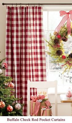 Would love to see some red buffalo check curtains to swap out for Christmas Country Christmas, Christmas Holidays, Christmas Crafts, Christmas Decorations, Holiday Decor, White Christmas, Red Cottage, Cottage Style, Buffalo Check Curtains