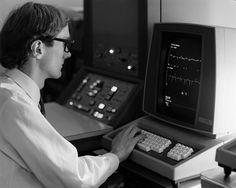 1971: Brian Carpenter at the PS control computer at #CERN  ---  #ThrowbackThursday #TBT  ---  This photo shows Brian Carpenter at the PS control computer. At that time he was writing software for process control systems at CERN.  ---  From 1985 to 1996, he led the networking group at CERN and worked alongside Tim Berners-Lee and Robert Cailliau in the early days of the World Wide Web.  ---  Find out more about the birth of the web at CERN: http://cern.ch/go/7gNv  ---  Image © CERN