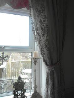 antique lace trimmed curtains