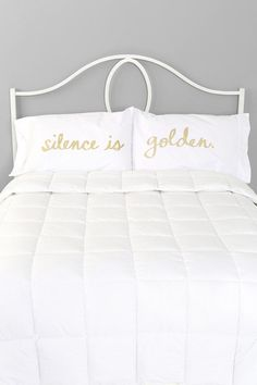 Silence Is Golden Pillowcase set Urban Outfitters white bedding - shut up and kiss me