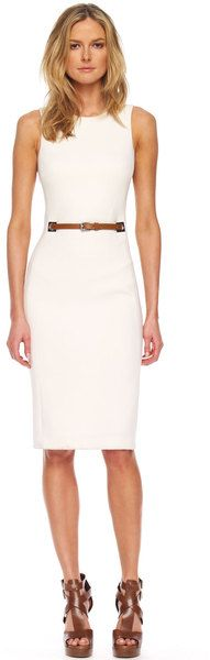 Belted Waist Sheath Dress