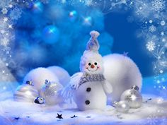 A cute snowman against some Christmas ornaments Merry Christmas And Happy New Year, Christmas Pictures, Christmas Snowman, Winter Christmas, Christmas Crafts, Christmas Decorations, Christmas Ornaments, Happy Holidays, Christmas Vinyl