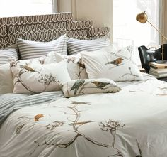 """I would love to add this onto the bed we plan to put in the nursery for late nights when bébé is fussing. And it is a set that would grow with her, too! Love avian-themed anything! This is the """"Chinoiserie Duvet Set"""""""