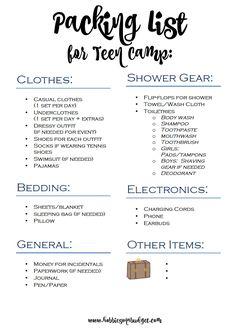 Packing List for Teen Summer Camp
