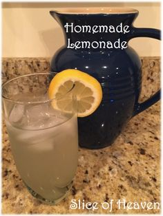 Slice of Heaven~~Homemade Lemonade~~It's the perfect time of year for a freshly squeezed glass of lemonade! Kool Aid Man, Homemade Lemonade, Mason Jars, Heaven, Mugs, Drinks, Tableware, Glass, Recipes