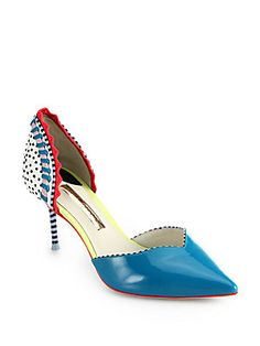 Sophia Webster Suna Patent Leather Mixed Media D'Orsay Pumps