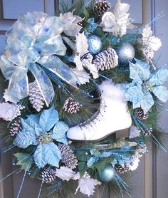 Christmas Winter Ice Skate Wreath  by Pebble Creek Wreaths