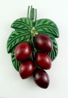 1930's Five Dangling Olives from Leaves Carved Bakelite Brooch Pin
