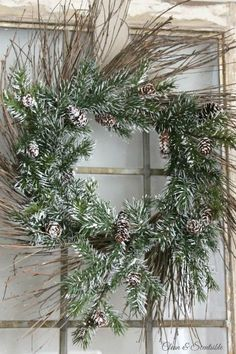 Simple but pretty rustic Christmas wreath. I love this!