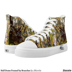 Half Dome Framed by Branches High-Top Sneakers - Printed Unisex Canvas Slip-On #Shoes Creative Casual #Footwear #Fashion #Designs From Talented Artists - #sneakers #feet #fashion #design #fashiondesign #designer #fashiondesigner #style - Look sporty stylish and elegant in a pair of unique custom sneakers - Each pair of custom Low Top ZIPZ Shoes is designed so you can fit your style to any wardrobe mood party or occasion - Fashionable sneakers for kids and adults give you a unique and…