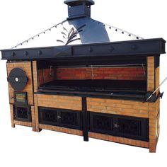 Nuestro quincho posee horno y parrilla en un mismo producto. Es ideal para restaurantes, terrazas y jardines.  Se destaca su estructura robusta y terminaciones en piedra laja, y por su sistema modular; se arma y desarma sin anclajes ni fijaciones. Outdoor Barbeque, Barbecue Grill, Grill Design, Küchen Design, Outdoor Fireplace Patio, Bbq Rotisserie, Alaska Cabin, Fire Pit Cooking, Brick Bbq
