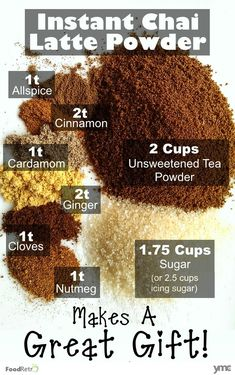 DIY Chai Latte Drink Mix This instant chai powder tastes just like chai lattes from the coffee shops. The seasoning mix itself is dairy free and vegan, so it's great to give away as a tasty frugal homemade Christmas Gift! Chai, Coffee Recipes, Tea Recipes, Tea Powder, Homemade Seasonings, Homemade Breads, Tea Latte, Homemade Christmas Gifts, Christmas Crafts