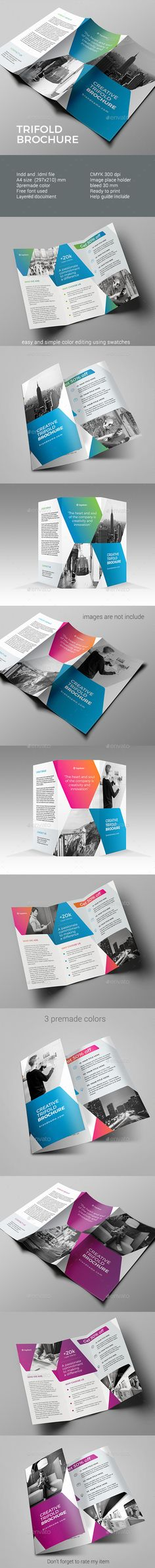 Trifold Brochure  — InDesign Template #triangle #clean • Download ➝ https://graphicriver.net/item/trifold-brochure/18368844?ref=pxcr