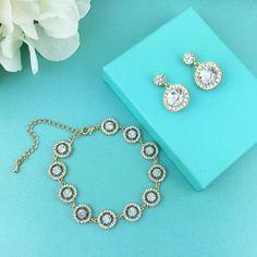 Gold Earrings Bracelet Set, Crystal wedding bracelet, Bridesmaid bracelet, cubic zirconia bracelet, bridal jewelry, bracelet set 295015653 by AllureWeddingJewelry on Etsy