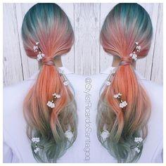Beautiful sunset mermaid hair