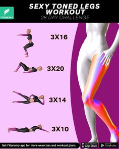SEXY TONED LEGS WORKOUT Reduce legs fat and cellulite by adding these four workouts to your daily workout plan. Within 28 days you'll have sexy, strong and toned legs that will look amazing in that short night out dress. Fitness Workouts, Fitness Workout For Women, Fitness Legs, Leg Workouts, Thigh Exercises, Toned Legs Workout, Butt Workout, Cellulite Workout, Night Workout