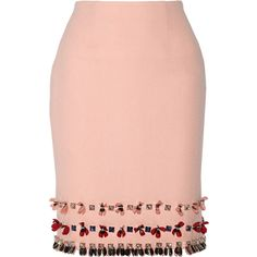 Mother of Pearl Leah embellished wool-crepe skirt ($455) ❤ liked on Polyvore featuring skirts, red skirt, embellished skirt, crepe skirt, sequin skirt and wool pencil skirt