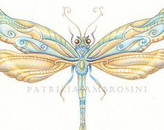 9x7 . NOT A PRINT ..Original Painting Dragonfly.. No.7 OOaK Handpainted ..Watercolour..