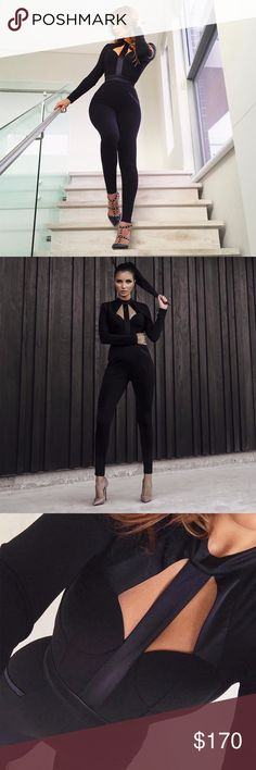 🆕Black Long Sleeve Cutout Bandage Jumpsuit #779 Black long sleeve cutout bandage jumpsuit.  Made from the best quality bandage material.  Material: 90% rayon , 9% nylon, 1% spandex  Dry Clean Only  Actual Pic of Dress  Price is Firm Rumor Apparel Pants Jumpsuits & Rompers
