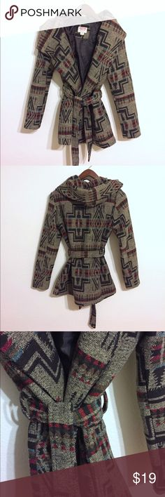 Aztec Boho Wool Coat Love this coat, I just have too many. Wool/poly/ acrylic blend in a beautiful tribal design. Two front slit pockets, inn we buttons and tie front waist. Large collar/ hood to wear in different styles. Size Med and fits like a Med. Only gently worn. No stains. Smoke free home. No trades. Mossimo Supply Co Jackets & Coats