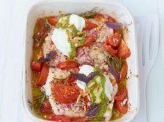 Kabeljauw uit de oven met tomaatjes en mozzarella