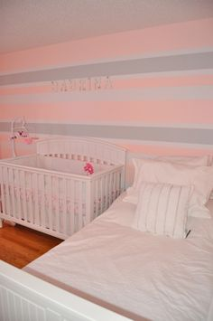 pink/grey/white horizontal stripes