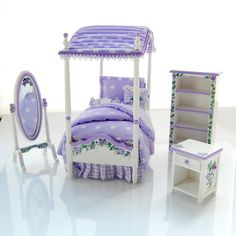 LAVENDER Purple Twin Girls CANOPY Bed Bedroom Set Hand-Painted Dollhuse Miniature Victorian Roses Gingham. $238.00, via Etsy.