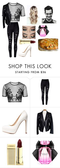 """""""Pizza date with Brendon Urie"""" by kiana-champ ❤ liked on Polyvore featuring Topshop, WithChic, Charlotte Russe, Alexander McQueen, Lipstick Queen and Victoria's Secret"""